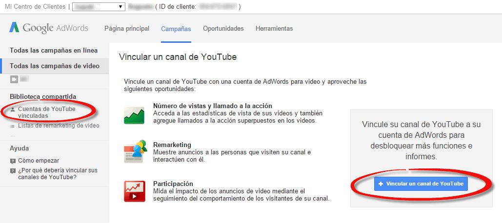 vincular cuenta youtube